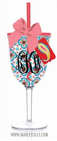 Monogrammed 13oz Fiesta Quatrefoil Double Wall Acrylic Wine Cup