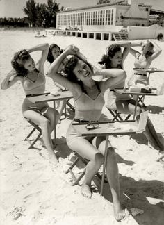Beauty school at the beach. c.1940's