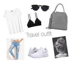 """""""Travel outfit"""" by fashionkid-1 on Polyvore featuring NIKE, Aerie, H&M, STELLA McCARTNEY and Christian Dior"""
