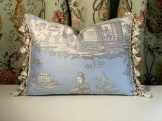 JIM THOMPSON CHINOISERIE SILK WITH SCALAMANDRE SILK TRIM ACCENT PILLOW  | eBay