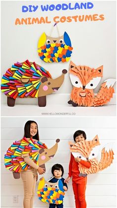 DIY Woodland Animal Costumes - halloween costumes ideas - halloween costumes ideas for women - halloween costumes ideas for couples Baby Crafts, Cute Crafts, Crafts To Do, Owl Halloween Costumes, Diy Costumes, Animal Costumes, Woodland Animals, Kids And Parenting, Diy For Kids