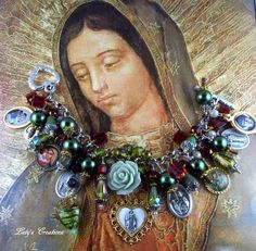 Catholic Our Lady of Guadalupe Vintage Medal Religious Medals Charm Bracelet  http://stores.ebay.com/letyscreations #HandmadeHandcrafted #CatholicReligiousMedalsBeads