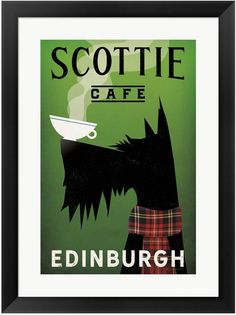 Ryan Fowler Poster Print Wall Art Print entitled Scottie Cafe, None Frames On Wall, Framed Wall Art, Framed Prints, Canvas Prints, Terrier Dogs, Illustrations, Painting Prints, Art Print, Paintings