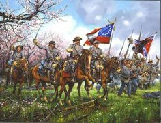 The Peach Orchard at the Battle of Shiloh. One of my favorite John Paul Strain paintings. American Civil War, American History, Battle Of Shiloh, Civil War Art, Confederate States Of America, Confederate Flag, Southern Heritage, Civil War Photos, Military Art
