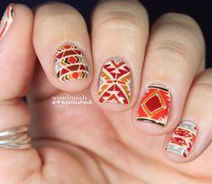 Wondrously Polished Fall Nails | fall autumn tribal nail art orange red design