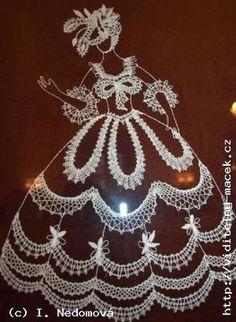 php 300 × 410 pixels Hairpin Lace, Bobbin Lace Patterns, Tatting Patterns, Crochet Doll Dress, Crochet Lace, Irish Crochet Tutorial, Nail String Art, Christmas Knitting Patterns, Lacemaking