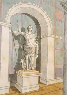 Italy - Roma (Rome) - Villa of Prima Porta - Statue of Augustus Roman Architecture, Historical Architecture, Ancient Architecture, Villa Hadriana, Fantasy World Map, Rome Antique, Ancient Mysteries, Art Graphique, Statue