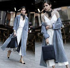 Adriana Gastélum - Shein Blue Trench, Cami Nyc Camisole, Mango Culottes, Strathberry Backpack - Dusty Blue