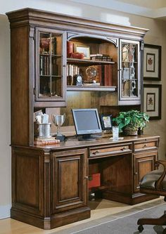 The generous drawers and cabinets of the Brookfield Hutch enable you to be as efficient and organized as you can be while offering handsome character to your home office.