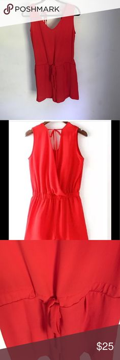 "Red V Neck Romper NOT ZARA. Just listed for exposure.NWT BOUTIQUE. 100% polyester. About 29"" long. Romper not dress. Zara Dresses"