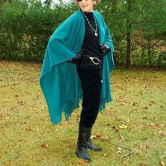 Teal  Anti Pill Fleece Wrap, Poncho, Cape or Shawl with Fringe--One Size Fits Most by YoungbearDesigns on Etsy