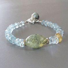 Aquamarine Prehnite Citrine Bracelet Sterling Silver DJStrang Gemstone Bead Blue…