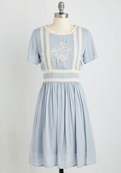 Flair Folk Dress. Youll be the loveliest lady at the fair when youre adorned in this powder blue frock! #blue #modcloth