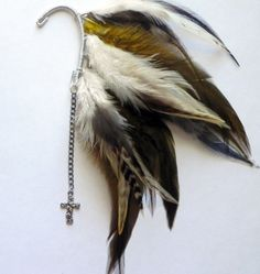 Olive Feather Ear Cuff & Cross Charm by Plumeuphoria on Etsy, $25.00