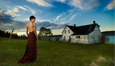 MAXI AND ROMANTIC Marsalie MacKenzie wears a McQueen tartan dress by Nova Scotia apparel designer Veronica MacIsaac. The picture, which was taken by Halifax photographer Brent McCombs at Soldiers Cove, Cape Breton, has appeared in Vogue Italia. Vogue Wedding, Scottish Fashion, Tartan Dress, Cape Breton, Photo Location, Nova Scotia, Mcqueen, High Fashion, Photoshoot