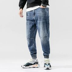 Casual Jeans, Jeans Style, Men Casual, Hip Hop Fashion, Mens Fashion, Harem Pants Men, Cargo Pants, Hip Hop Jeans, Ripped Jeans Men