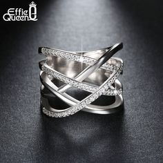 Effie Queen Wedding Engagement Finger Ring Trendy White Gold Plated Cubic Zircon Ring Luxury Jewelry for Women DAR027