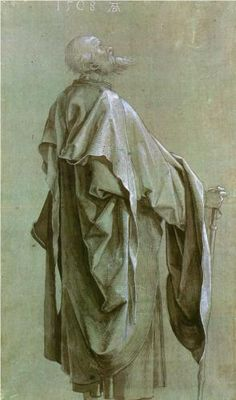 Albrecht Dürer - Standing Apostle /Study of Drapery, 1508 Life Drawing, Figure Drawing, Painting & Drawing, Brush Drawing, Drapery Drawing, Albrecht Dürer, Albrecht Durer Paintings, Renaissance Kunst, High Renaissance