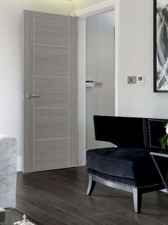 Lava laminate internal door - Grey contemporary laminate with textured timber effect