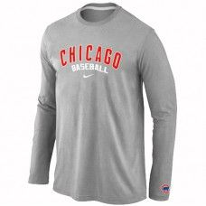Wholesale Men Chicago Cubs Authentic Team Name Long Sleeve Grey T-Shirt_Chicago Cubs T-Shirt