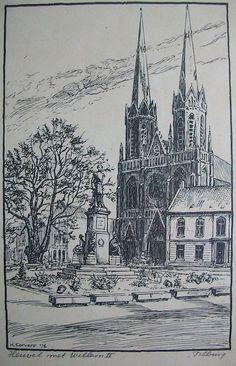 Monument Willem II in het centrum van Tilburg. 1976. Pentekening van H.Corvers.