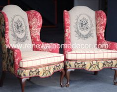 """Custom Order- Upholstered channel back wingback dining chairs """"Adelante Clean…"""