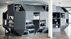Designed by architecture and design practice Nilsson Pflugfelder, Verbandkammer is conceived as an all-in-one living and working space aimed at visual artists, cramming an impressive number of building functions through its 40 modules, including work desks, meeting areas, archive shelving and sleeping quarters, into a compact, efficient (if perhaps a little cramped) space.