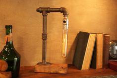 Tube Edison Industrial Lamp With Oak Base