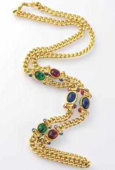 Vintage Henkel Grosse Flawed Emerald Cabochon Station Textured Chain Necklace #HenkelGrosse