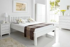 simple Shaker White Wooden Bed Frame LFE