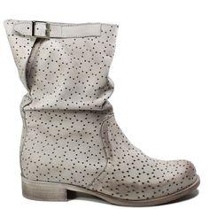 Stivaletti Biker Boots in Vera Pelle Nabuk traforata spazzolata Vintage ceba64d021b