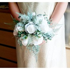 White fabric roses dusty miller frosted fern flowers wedding BOUQUET... ($85) ❤ liked on Polyvore featuring home, home decor, floral decor, wedding, artificial flowers, silk flower arrangement, fake flower bouquets, rose bouquets and flower bouquet