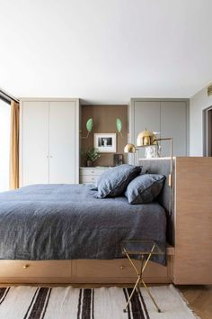 Should We Be Floating All Of Our Furniture??? A Potential Trend We Think Is On The Rise - Emily Henderson | design trends, interior design Built Ins, Furniture, Bedroom Ideas, Bedrooms, Decorating Small Spaces, Home Decor, Design Trends, Style, Living Room