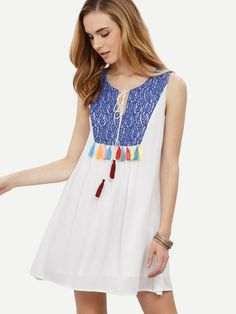 Online shopping for White Tie Tassel Lace Stitching Sleeveless Dress from a…