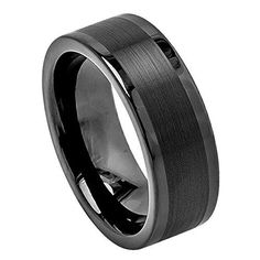 Tungsten Ring Black Enamel Plated with Pipe Cut Finish Center and High Polished Edges Finish 8mm Wedding Band for Men / Women