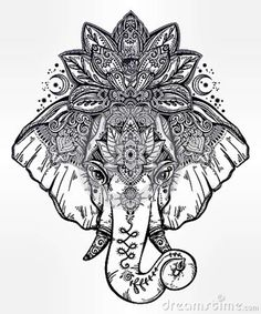 Image result for black and white elephant lotus tattoo