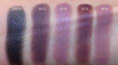 MUFE eyeshadows D830, S832, I838, I834, S836