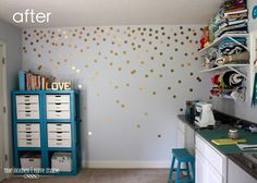 For my entry way, I can do this with the GI-normous punch I bought last year on sale. / The Homes I Have Made: DIY Gold Polka-Dot Wall (http://www.thehomesihavemade.com/2013/07/diy-gold-polka-dot-wall.html)