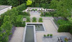 Multi-level gravel garden with central water feature for interest. Gravel Garden, Water Garden, Garden Landscaping, Unique Gardens, Small Gardens, Outdoor Gardens, Contemporary Garden Design, Contemporary Landscape, Pond Design