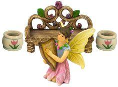 The Beautiful Harp Fairy Helen 4 Piece Fairy Garden Set by Twig & Flower.