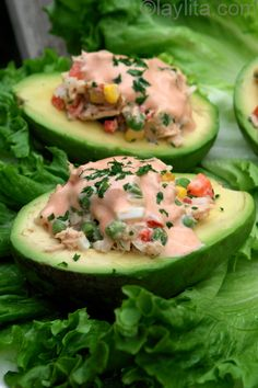 Avocadoes stuffed with tuna salad