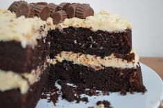 A one-bowl chocolate cake recipe with a peanut butter buttercream frosting.