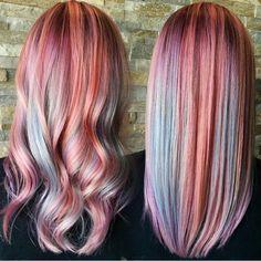 ➰ Curly or Straight? Gorgeous Peach, Blue and Lavender Hair Painting by @bean543 #hotonbeauty . . . . #peachhair #bluehaircolor #pastelpeachhair #pastelhair #pastelbluehair #lavenderhair #hairpainting