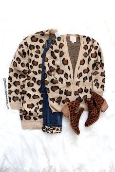 Oversized Leopard Print Knit Sweater Cardigan with Pockets-Tan Leopard Print Oversized Cardigan, Sweater Cardigan, Tribal Print Cardigan, Floral Pants, Animal Print Dresses, Cardigans, Sweaters, Front Design, Trending Outfits