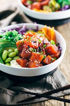 Salmon Pok With Creamy Togarashi Sauce Cooking With . Salmon Poke Bowl With Spicy Mayo Eat The Gains. Salmon Recipes, Asian Recipes, Gourmet Recipes, Healthy Recipes, Low Carb Recipes, Spicy Salmon, Salmon Poke Bowl Recipe, Sport Food, Kuchen
