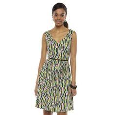 Dana Buchman Geometric Fit & Flare Dress - Women's