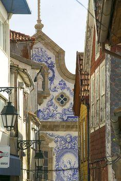 #Covilhã, #Portugal ceramic tiles façade covered church.