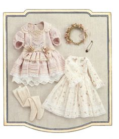 "Frill Lacy Dress and Under dress sewing pattern PDF 1/4 42cm ( 16.5"" ) MSD Unoa BJD. $7.90, via Etsy."