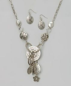 Look what I found on #zulily! Silver Textured Ring Pendant Necklace & Drop Earrings #zulilyfinds