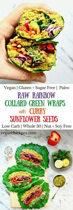 Raw Rainbow Collard Green Wrap with Curry Sunflower Seeds recipe is a super healthy, crunchy lunch you can make ahead that will leave you feeling fresh & energized. It's customizable with whatever veggies you want, low carb and friendly for all diets Raw Vegan Dinners, Raw Vegan Recipes, Super Healthy Recipes, Vegan Foods, Vegan Dishes, Whole Food Recipes, Vegetarian Recipes, Vegetarian Sandwiches, Going Vegetarian